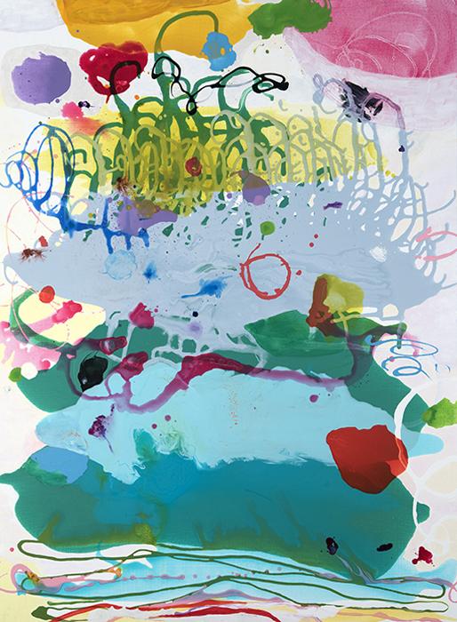 "Hampta Valley (downpour),  48"" x 36"", acrylic, ink, graphite on canvas, 2018"