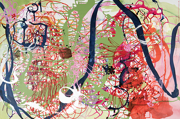 "Nature's Edge,  36"" x 54"", acrylic, ink, graphite, color pencil on cavas, 2016"