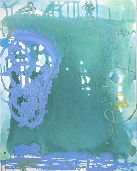 """Aqua Dream,  30"""" x 24"""", acrylic, graphite, color pencil on canvas, 2016"""
