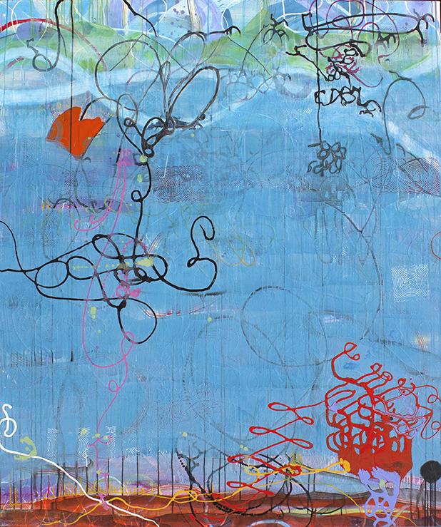 "Mermaid,  72"" x 60"", acrylic, ink, graphite, color pencil on canvas, 2017"