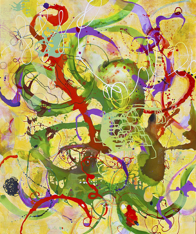 "Serpentine,  72"" x 60"", acrylic, ink, graphite, color pencil on canvas, 2017"