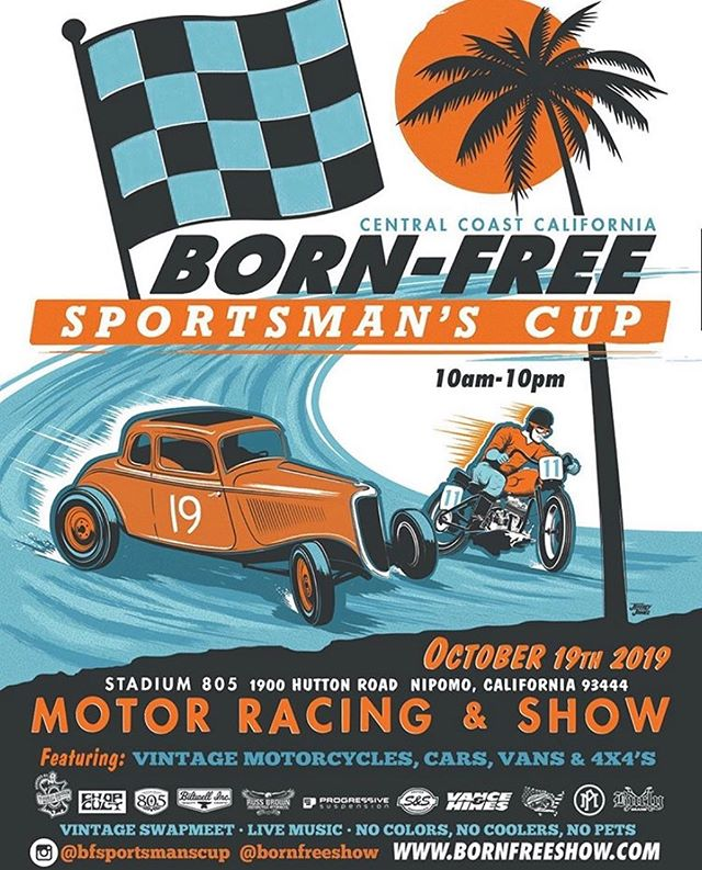 TOMORROW!! If you're out and about come and join us at the 1st Annual @bfsportsmanscup in Nipomo, CA. Vintage motorcycles, cars, vans & 4x4s. C'mon!! #bornfree #bfsportsmanscup #stadium805