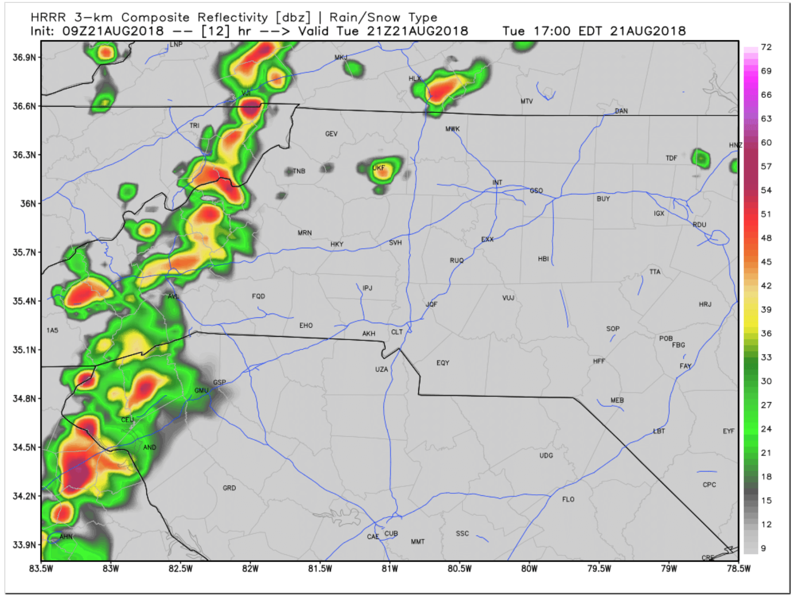 HRRR radar depiction at 5pm EST. You can see a strong line of storms stretching across most of Buncombe co.