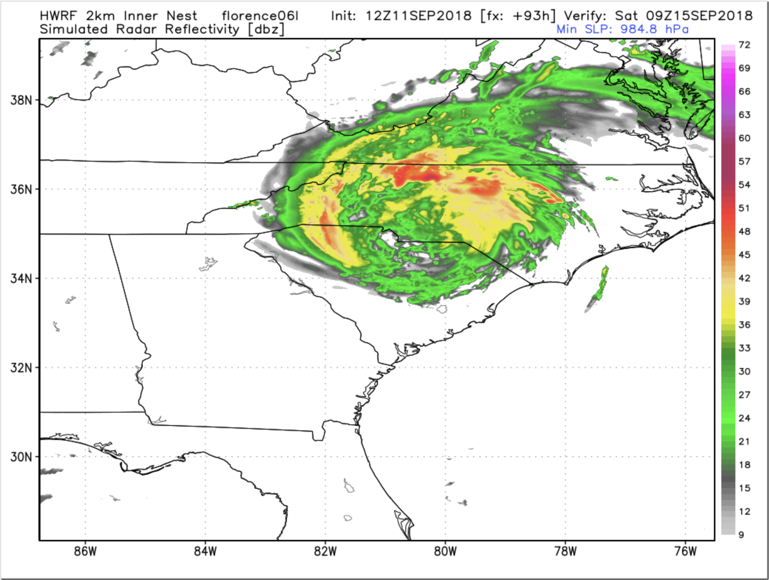 12z HWRF Tuesday Simulated Radar For Saturday Morning