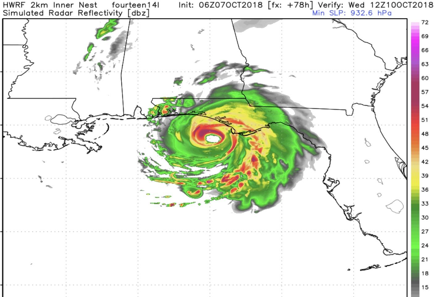6z HWRF inner nest radar depiction Wednesday Morning