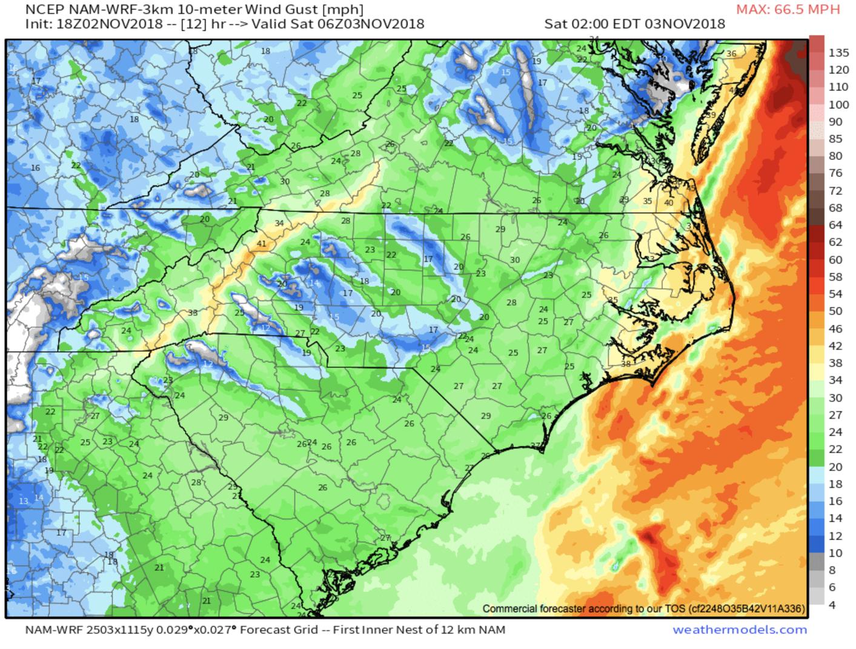18z 3km NAM Wind Gust Map courtesy of  weathermodels.com