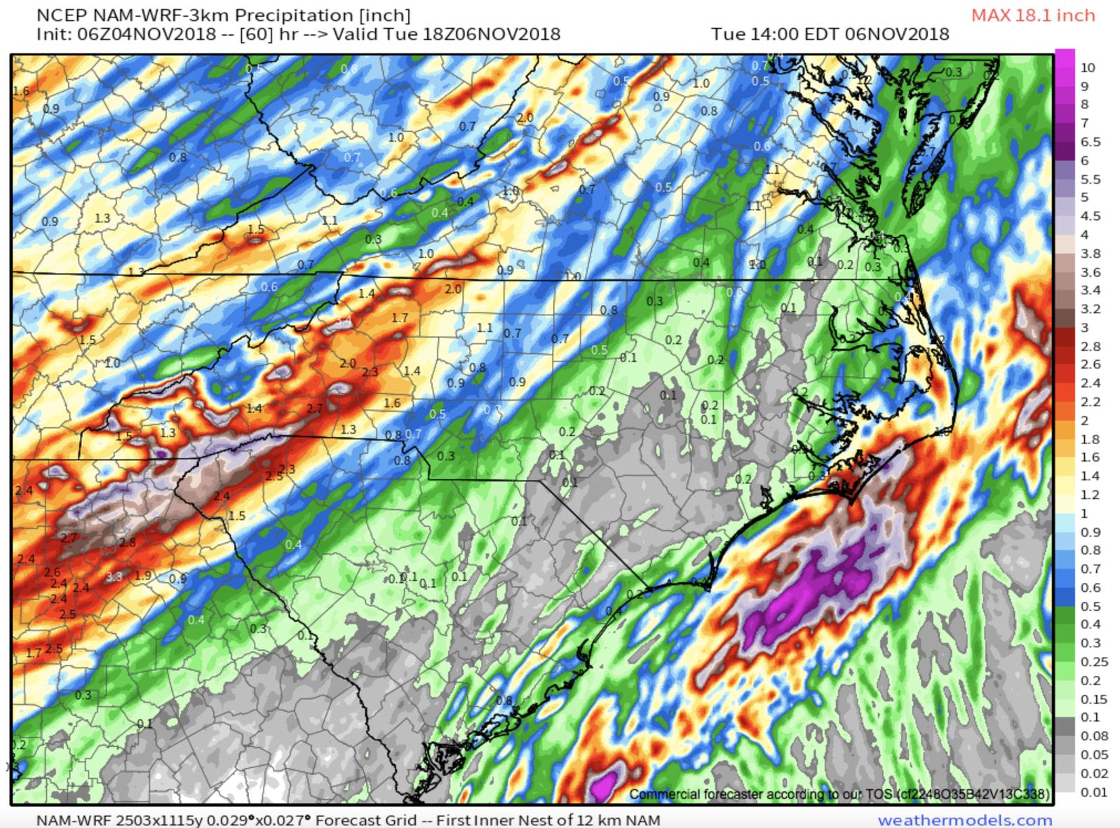 Total Precipitation Thru Tuesday Courtesy of  Weathermodels.com
