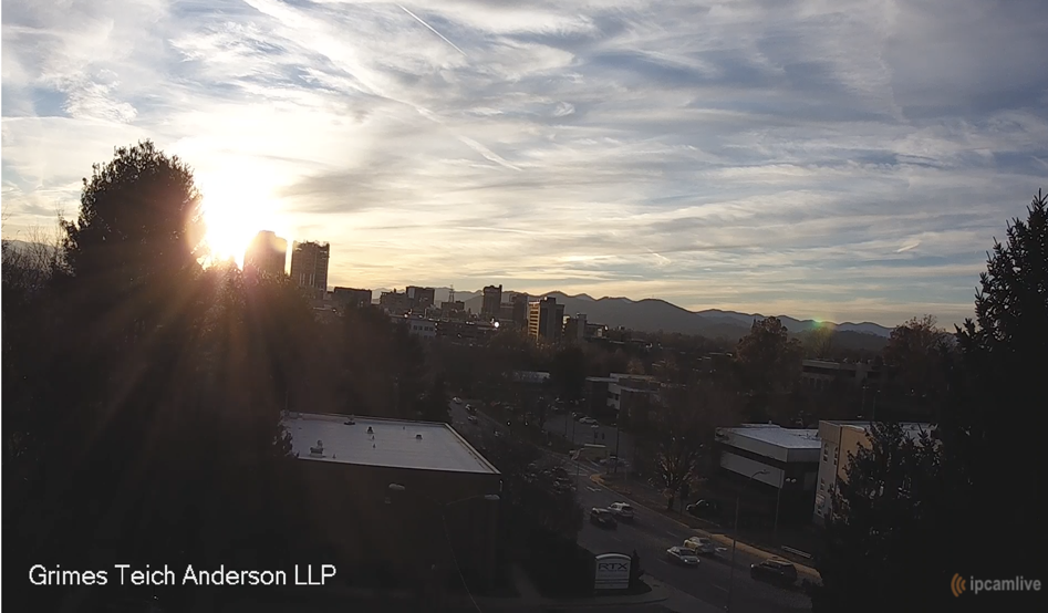 Grimes Teich Anderson LLP Live Downtown Asheville Camera - Located on the top of the Grimes Teich Anderson LLP Office building in Downtown Asheville, NC. Here you can see gorgeous sunsets and what the weather is doing in Downtown Asheville.