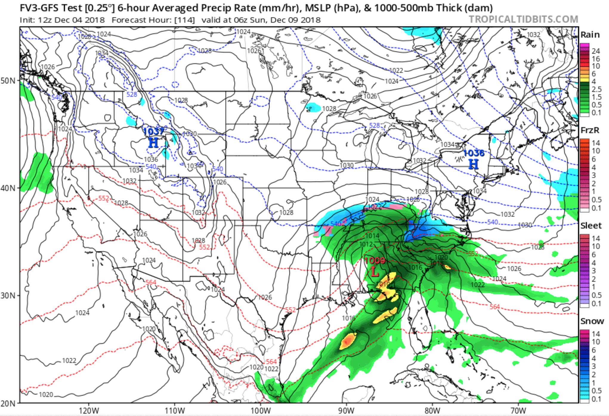 FV3-GFS Precipitation Depiction courtesy of  tropicaltidbits.com