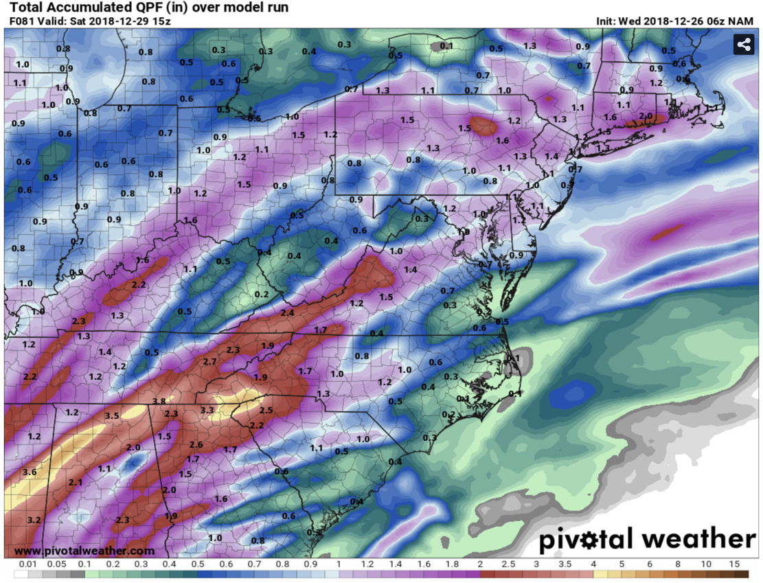 12km Nam Precipitation Totals Curtesy of  Pivotalweather.com
