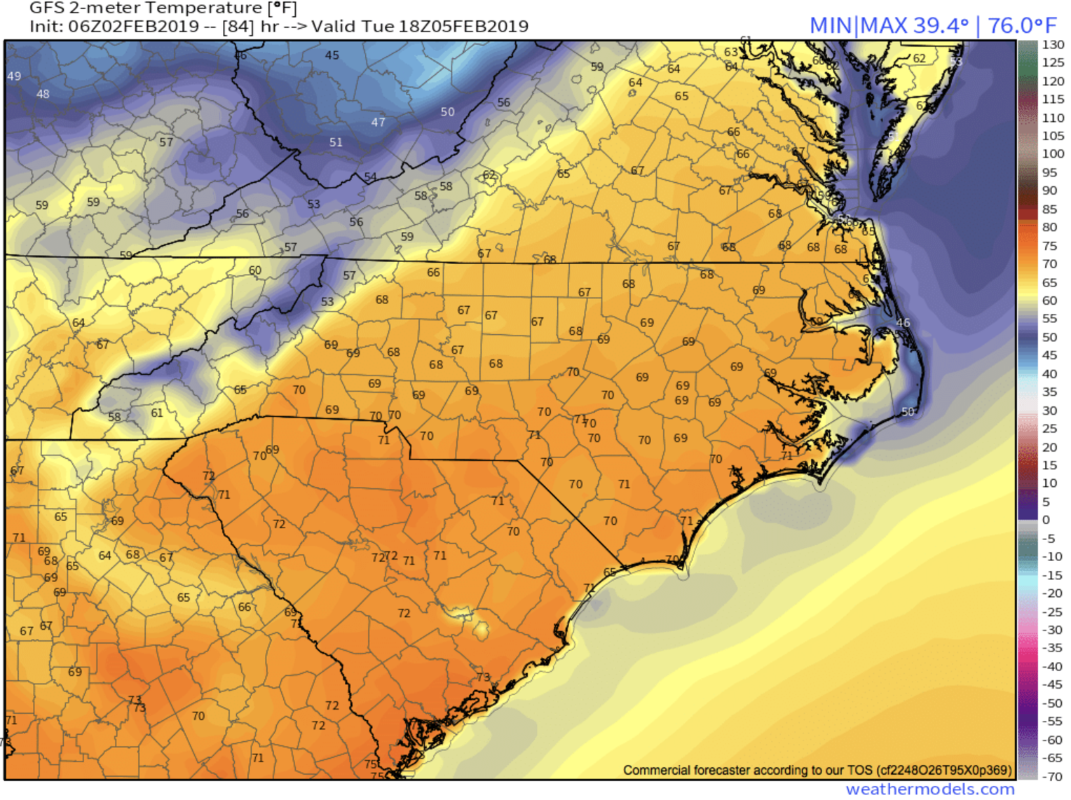GFS Surface Temps Tuesday Afternoon Courtesy of  Weathermodels.com