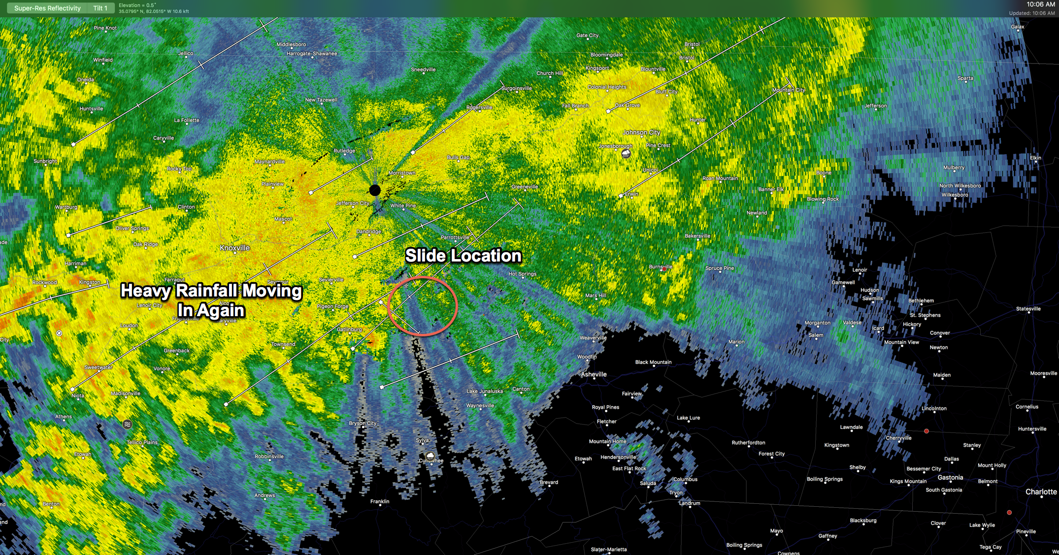 Heavy rainfall moving into slide area again