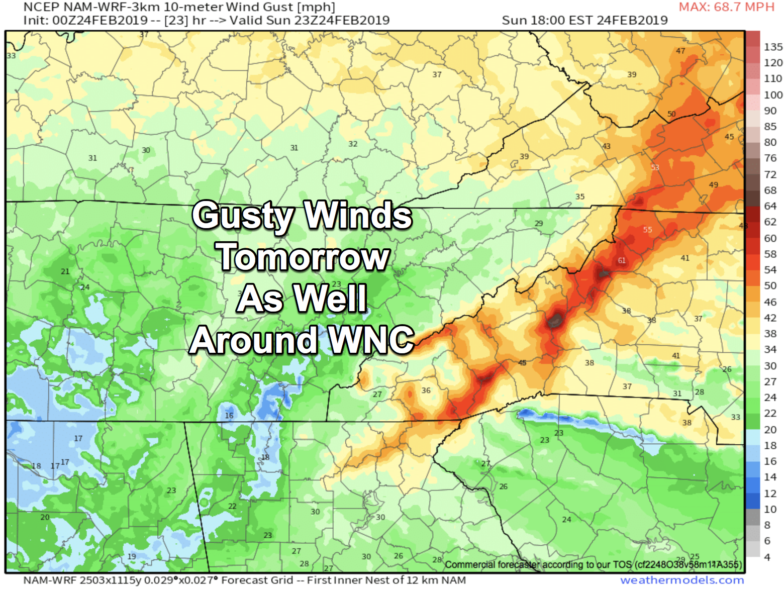 0z 3km NAM Wind Gusts Around WNC Tomorrow Showing 45+mph at AVL Airport Courtesy of  Weathermodels.com