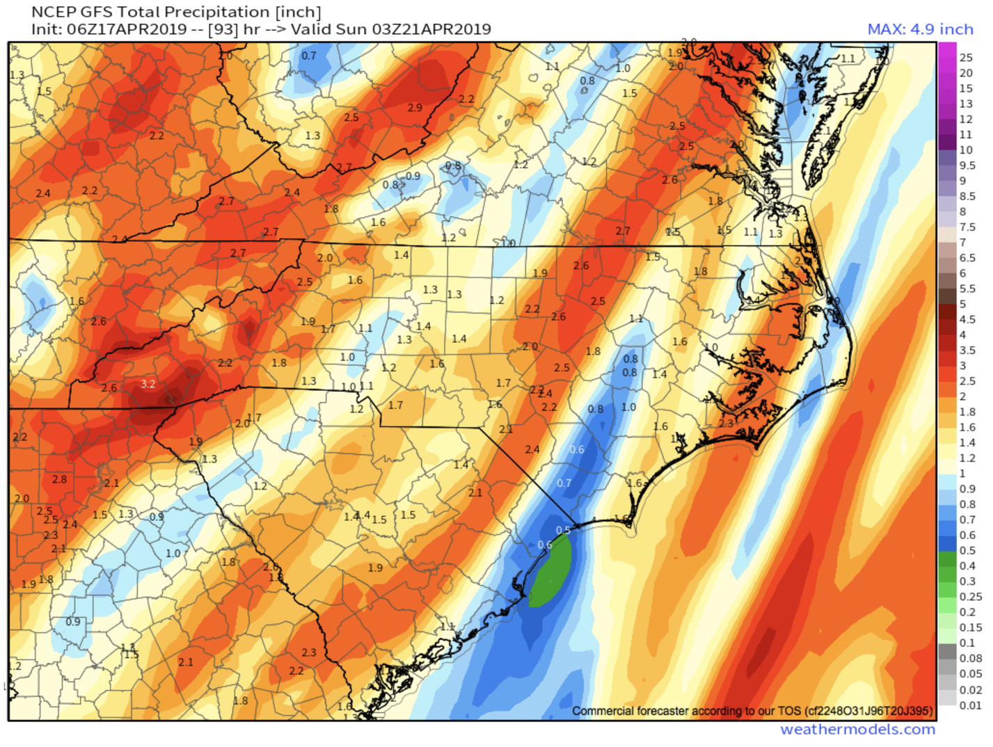 6z GFS Precipitation Totals Through Sunday Courtesy of  Weathermodels.com