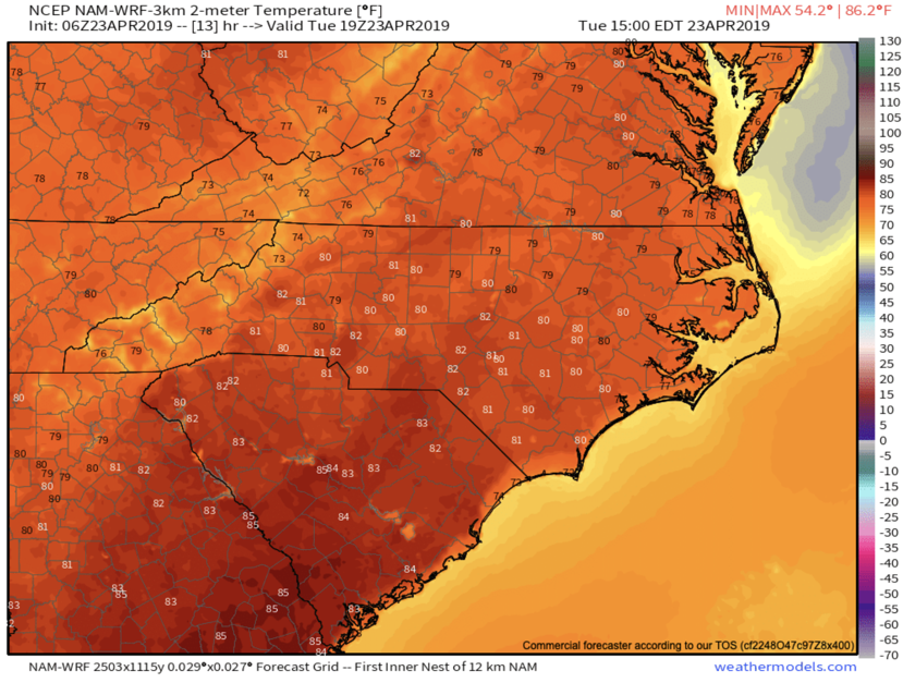 3km NAM High Temps May 23rd Courtesy of  Weathermodels.com