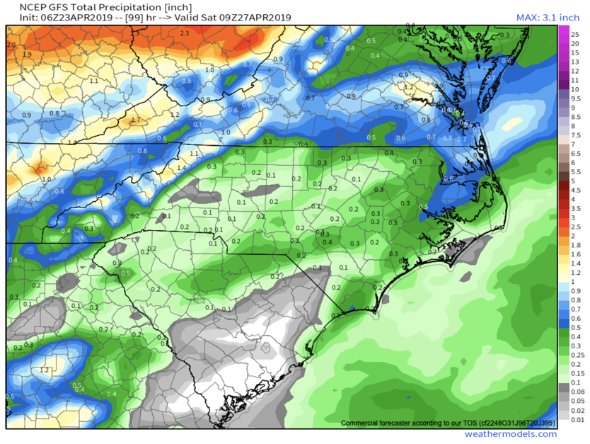 GFS Precipitation Totals Courtesy of  Weathermodels.com