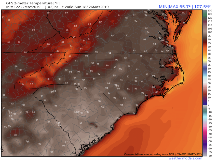 GFS Sunday High Temps Provided By  Weathermodels.com