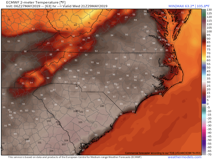 ECMWF Projected Temperatures For Wednesday Afternoon Provided By  Weathermodels.com