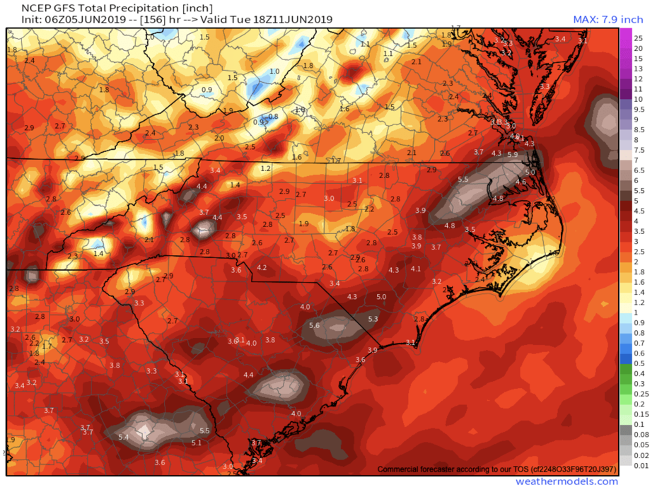 GFS Total Precipitation Through Tuesday Provided By  Weathermodels.com