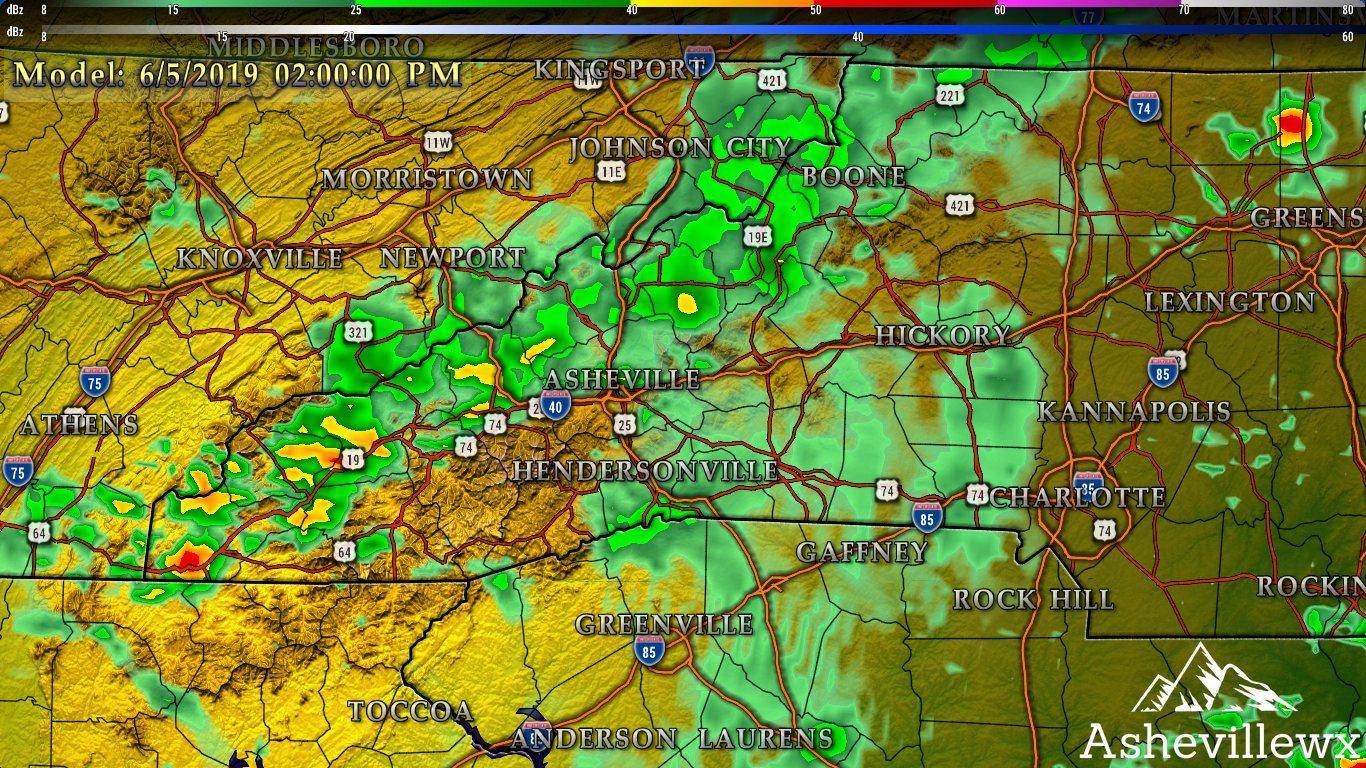 Radar Depiction For This Afternoon (Wednesday) Around WNC
