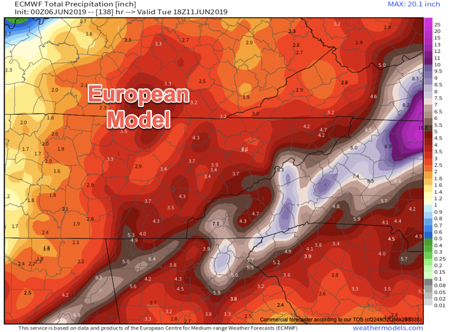 ECMWF Provided by  Weathermodels.com