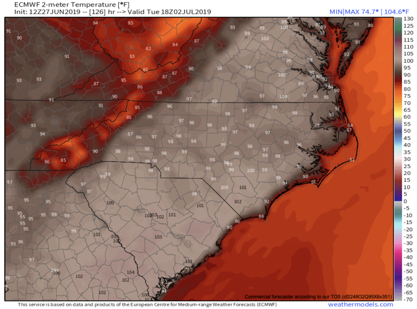 ECMWF Temperatures Tuesday Afternoon courtesy of  Weathermodels.com