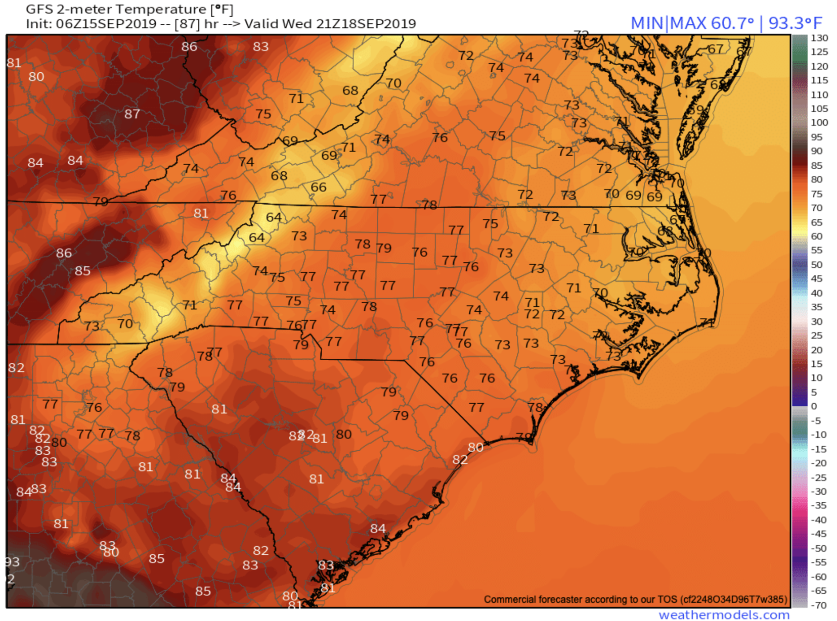 Wednesday Afternoon Temperatures Per GFS Provided By  Weathermodels.com