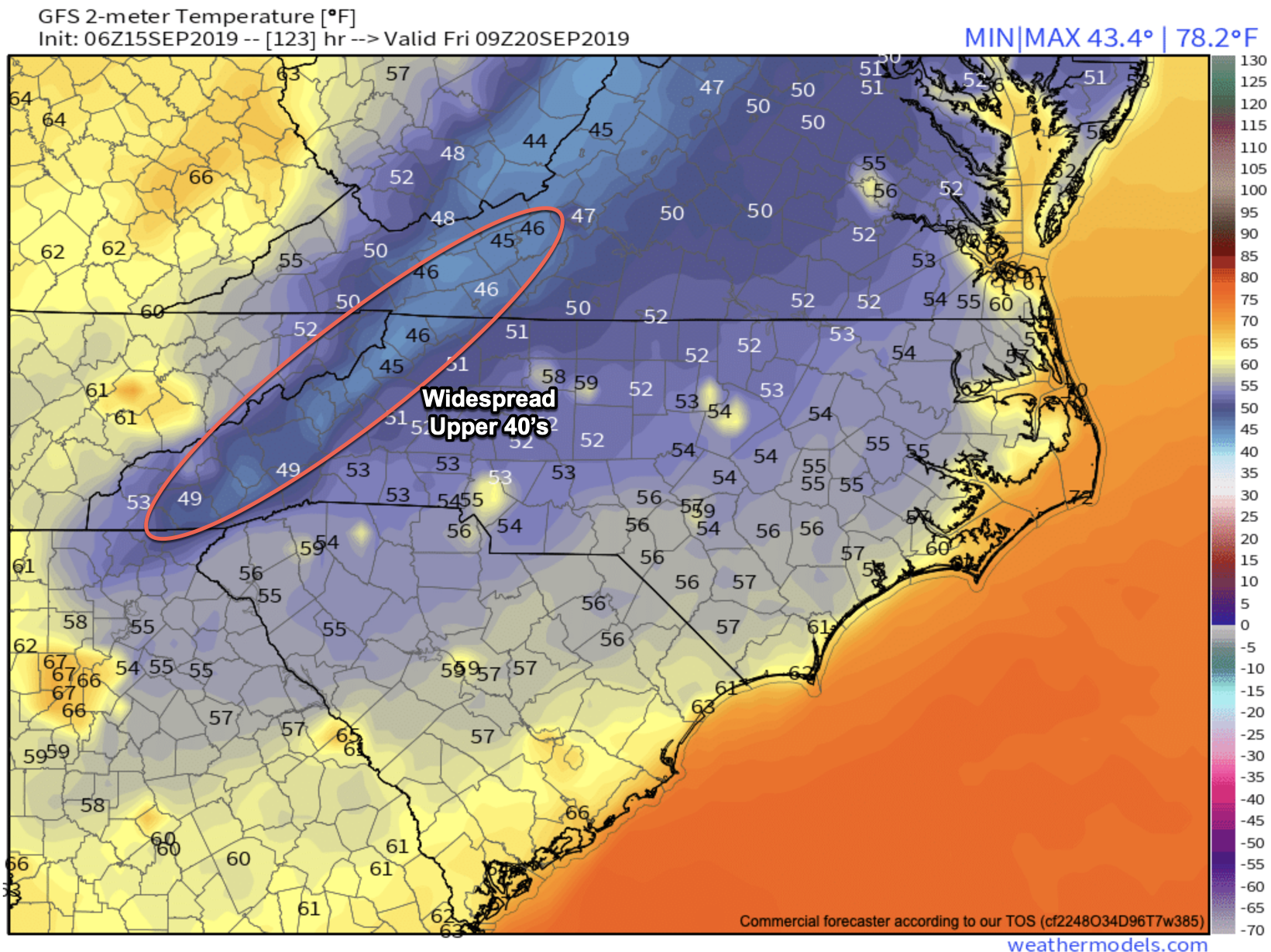 Friday Am Temps Per 6z GFS Courtesy of  Weathermodels.com