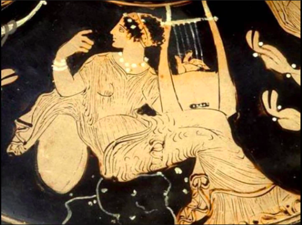 Detail of a Muse playing a cithara from a painting depicting the musical contest of Apollo and the Satyr Marsyas. Part of the collection at the Musée du Louvre, Paris