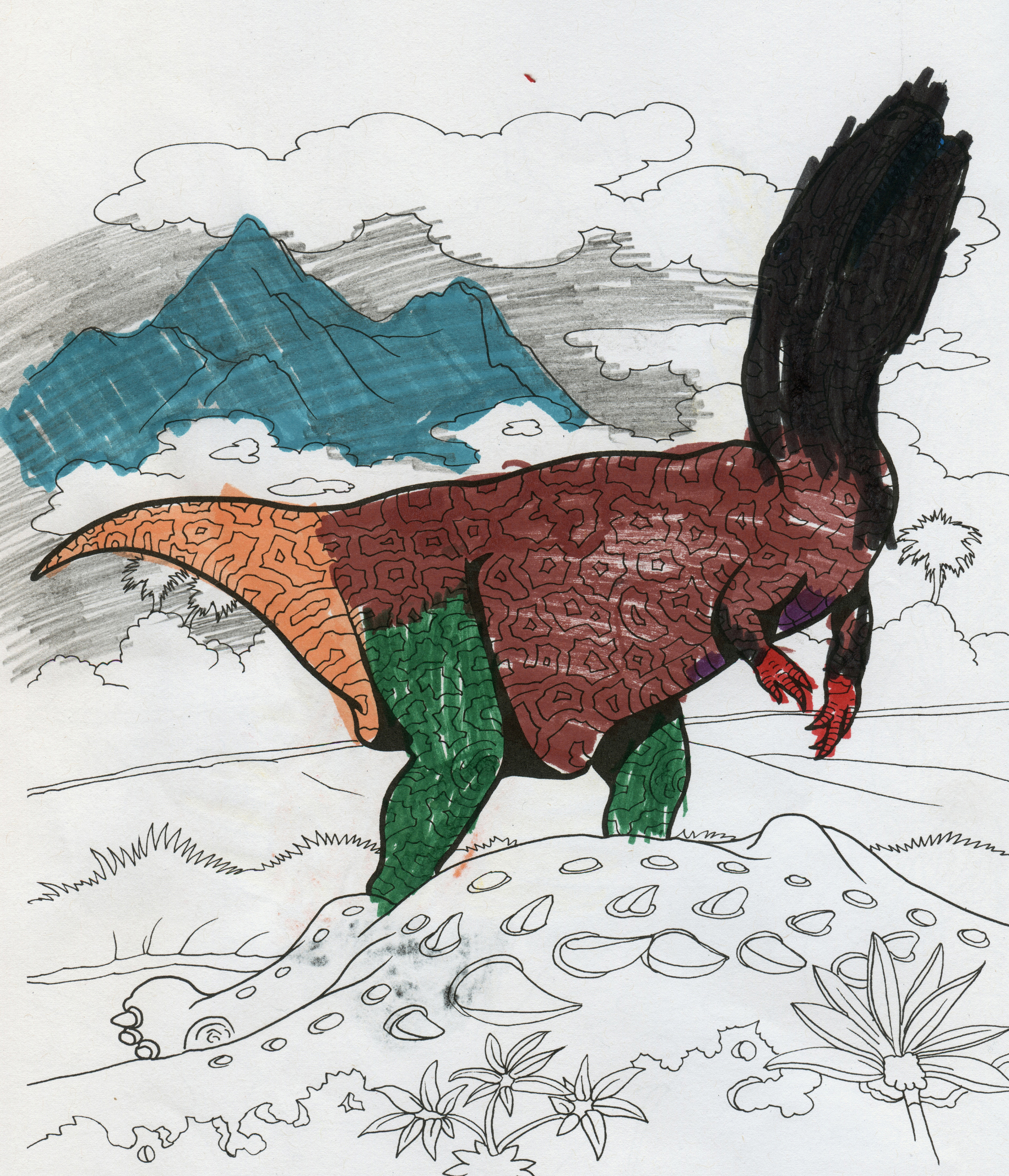 Dinosaurs!  juxtaposes the child's drawing hand with the Jurassic and Cretaceous. The act of coloring obscures and restructures the original templates.   Dinosaurs! (Gigantosaurus) , 2016.  48 x 36 in.  Digital Print.