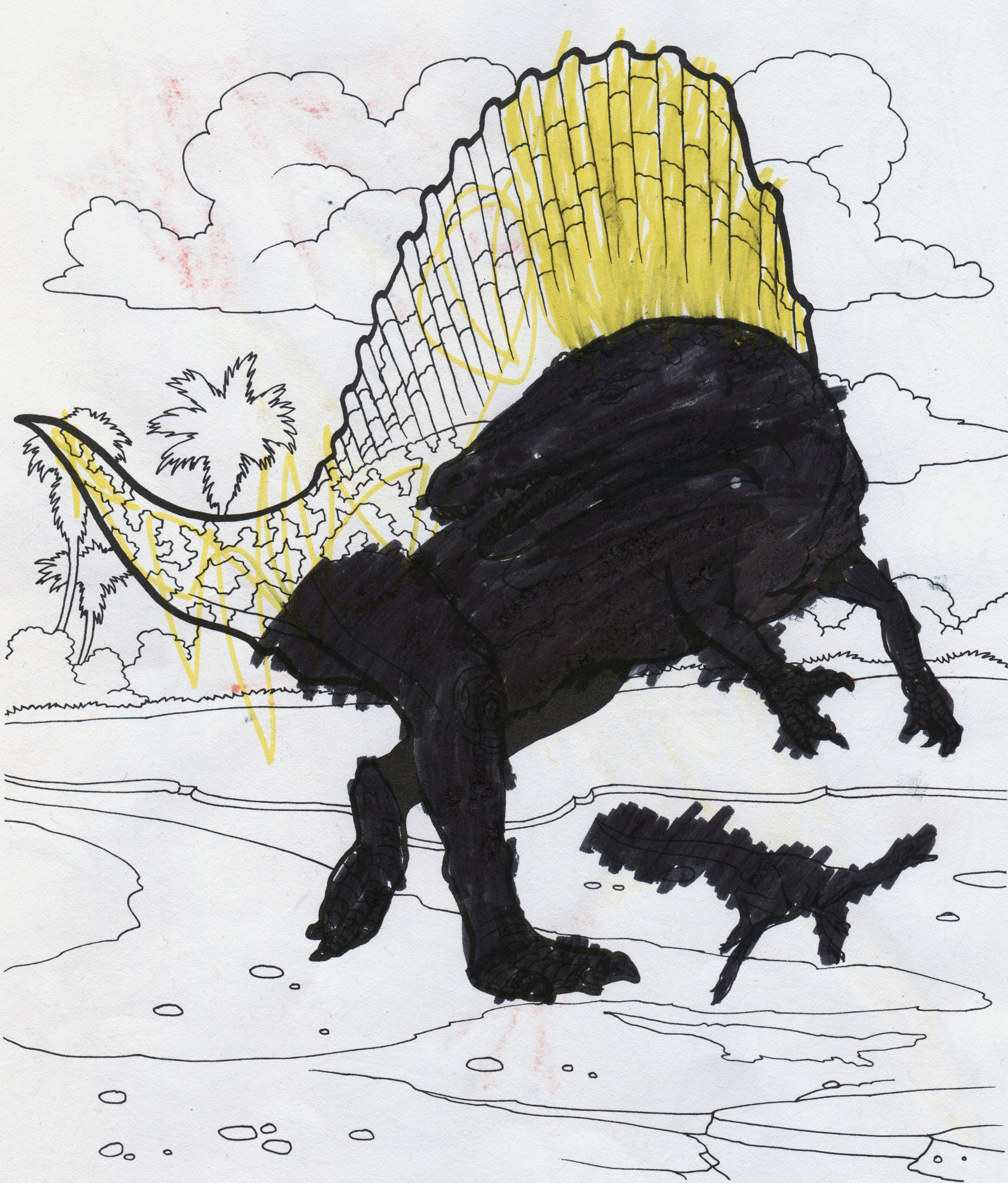Dinosaurs!  juxtaposes the child's drawing hand with the Jurassic and Cretaceous. The act of coloring obscures and restructures the original templates.   Dinosaurs! (Spinosaurus) , 2016.  48 x 36 in.  Digital Print.
