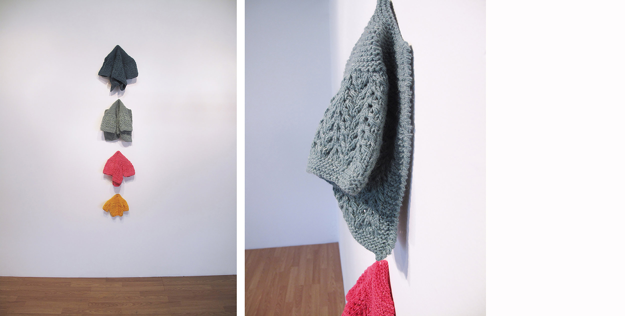 The linear nature of the knit line mirrors a narrative arc in  Family Tree . Hand knit and hand dyed, the four small sweaters reference my father's coat rack and my childhood perspective of it.   Family Tree , 2016.  50 x 12 x 3 in.  Hand dyed and knit wool.
