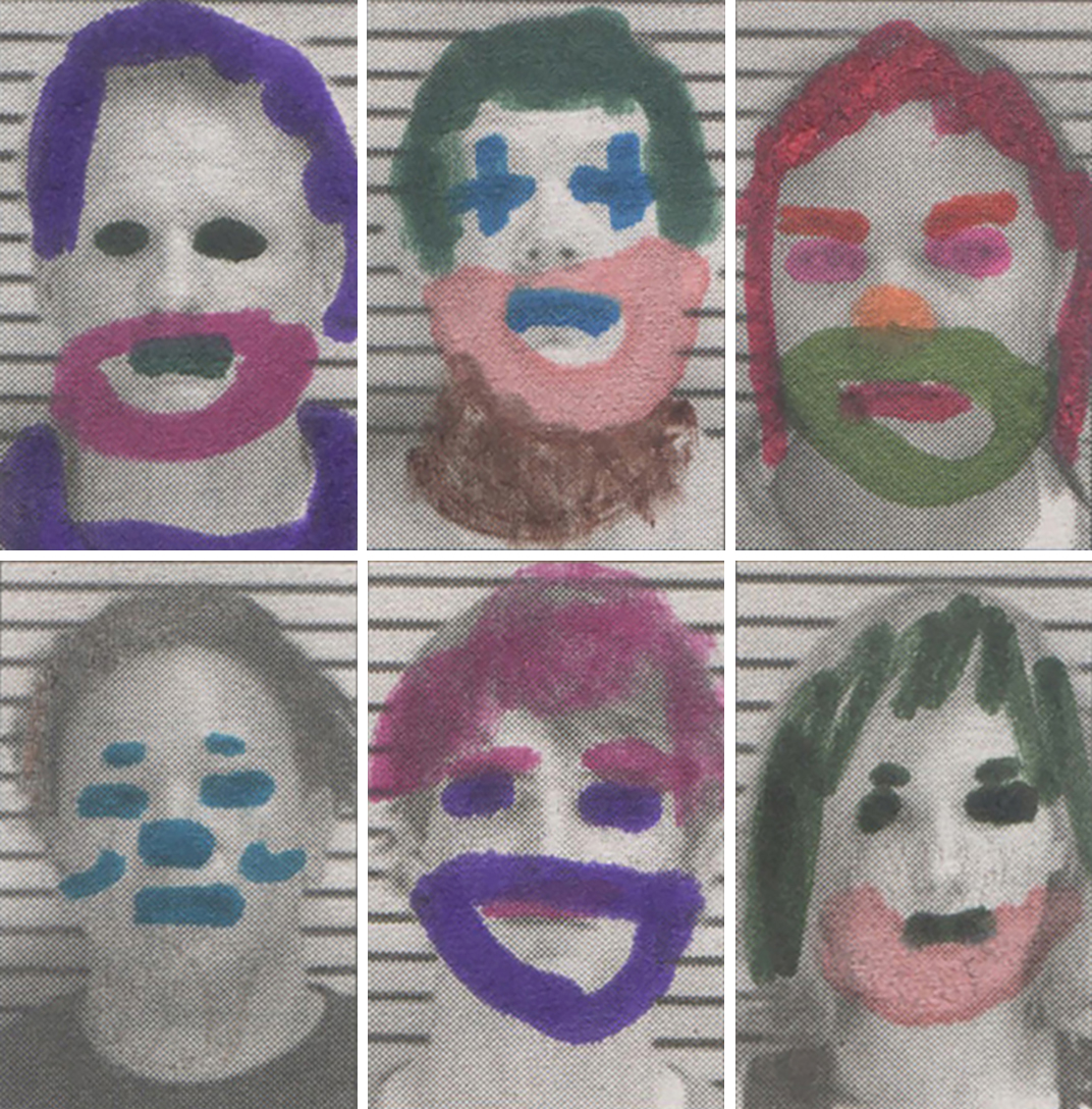 The pathos of misfortune. Local arrest sheet as coloring book.   Local Clowns,  2016