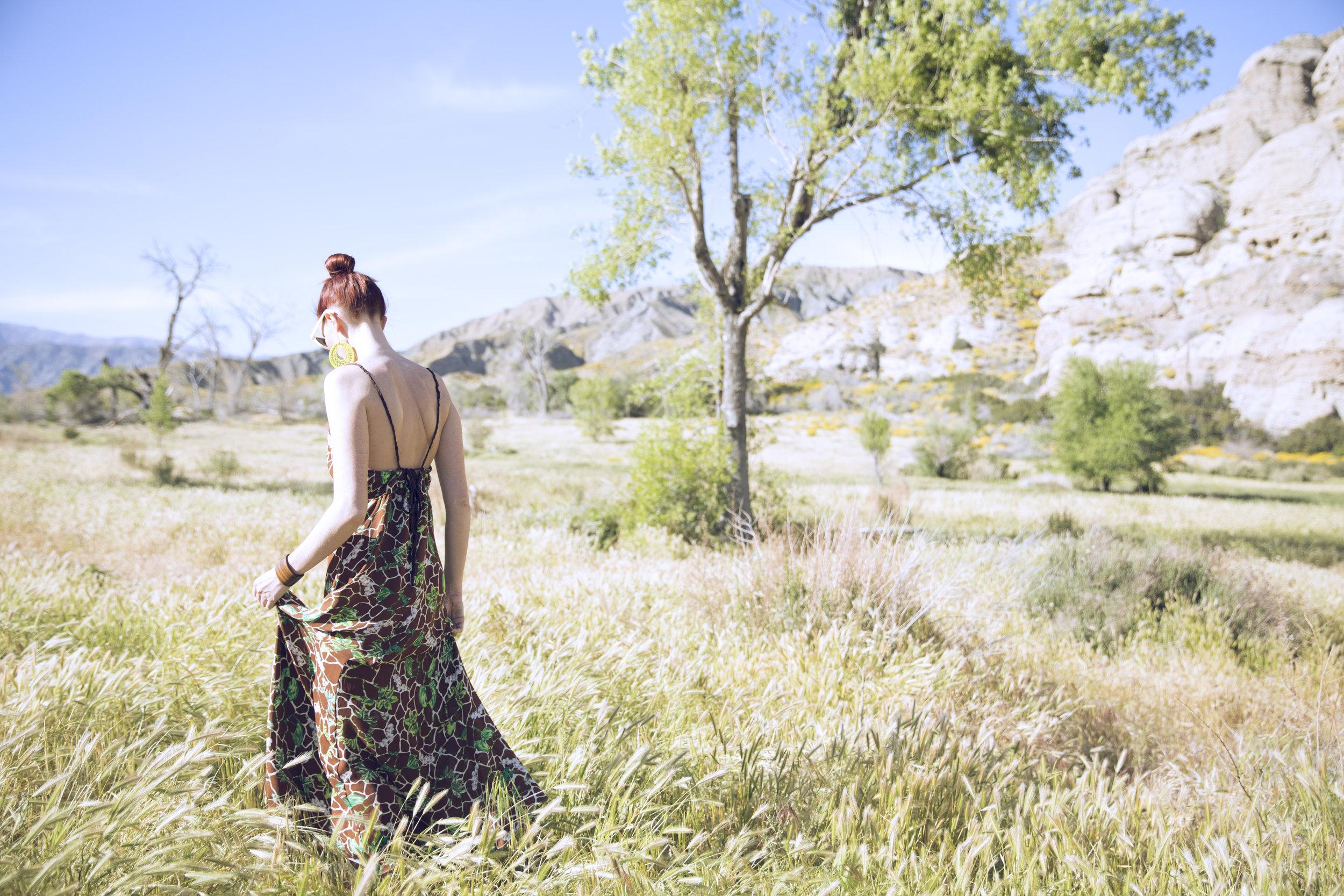"Rachel Silk Georgette Maxi Dress in ""Giraffe Floral"""