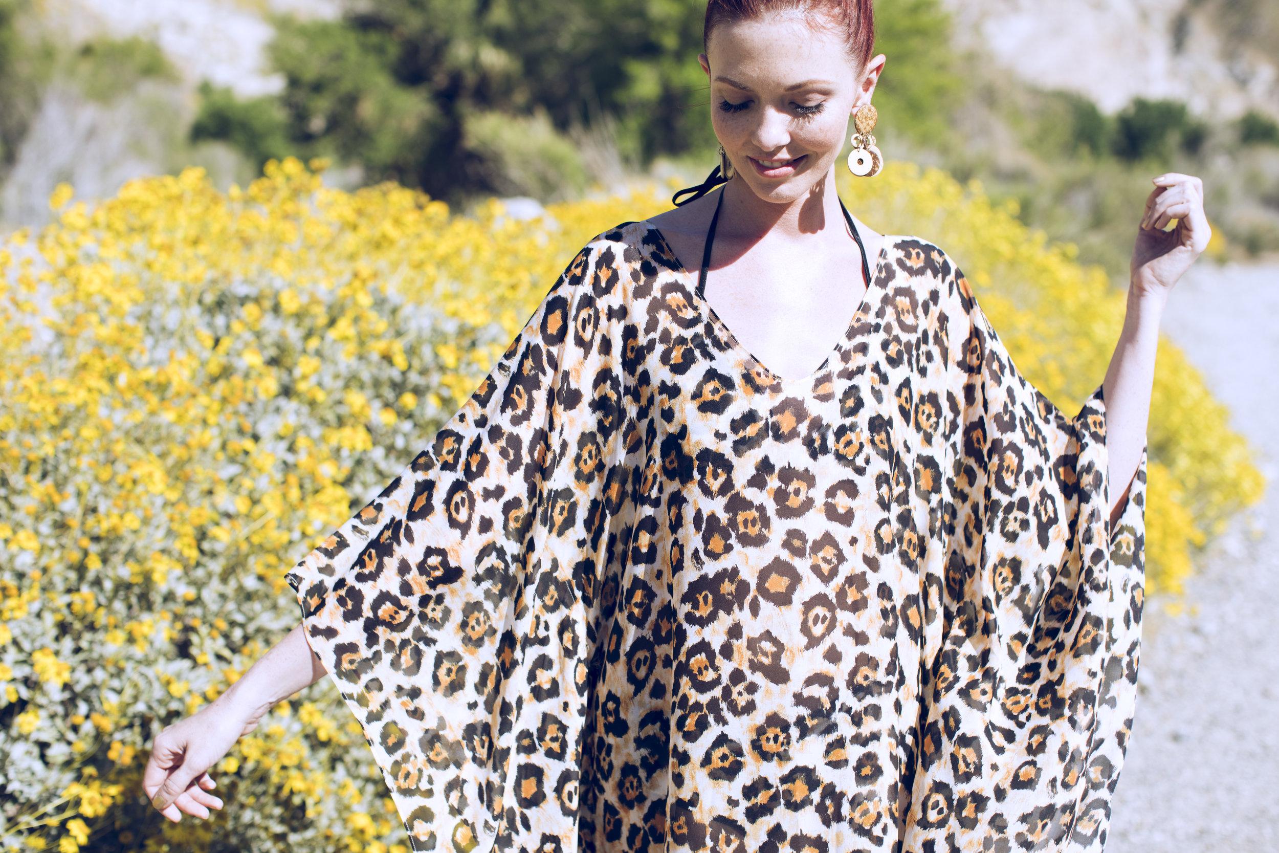 "Talitha Silk Chiffon Caftan in ""Painted Jaguar"""