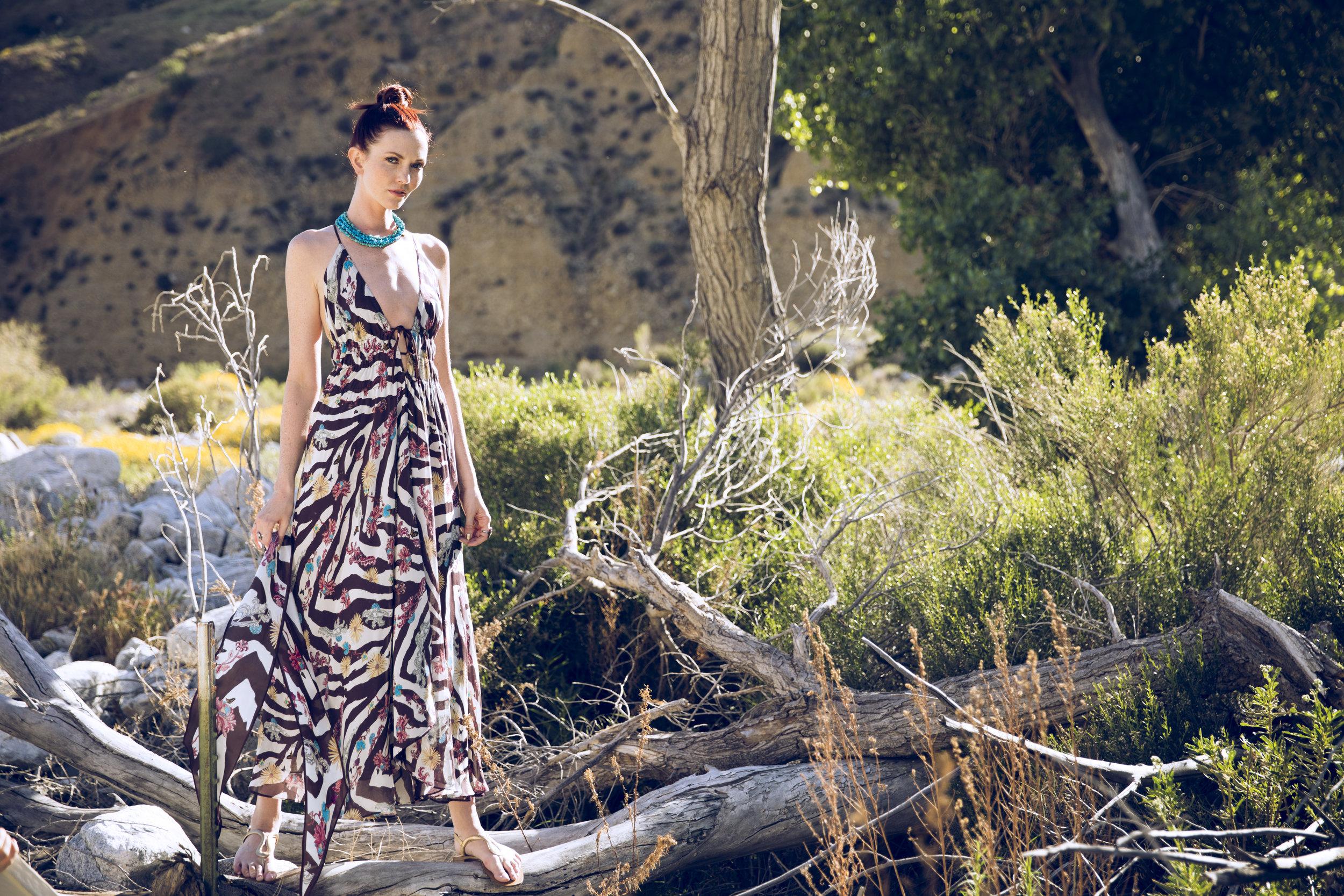 "Caroline Reversible Silk Chiffon Maxi Dress in ""Zebra Floral"""