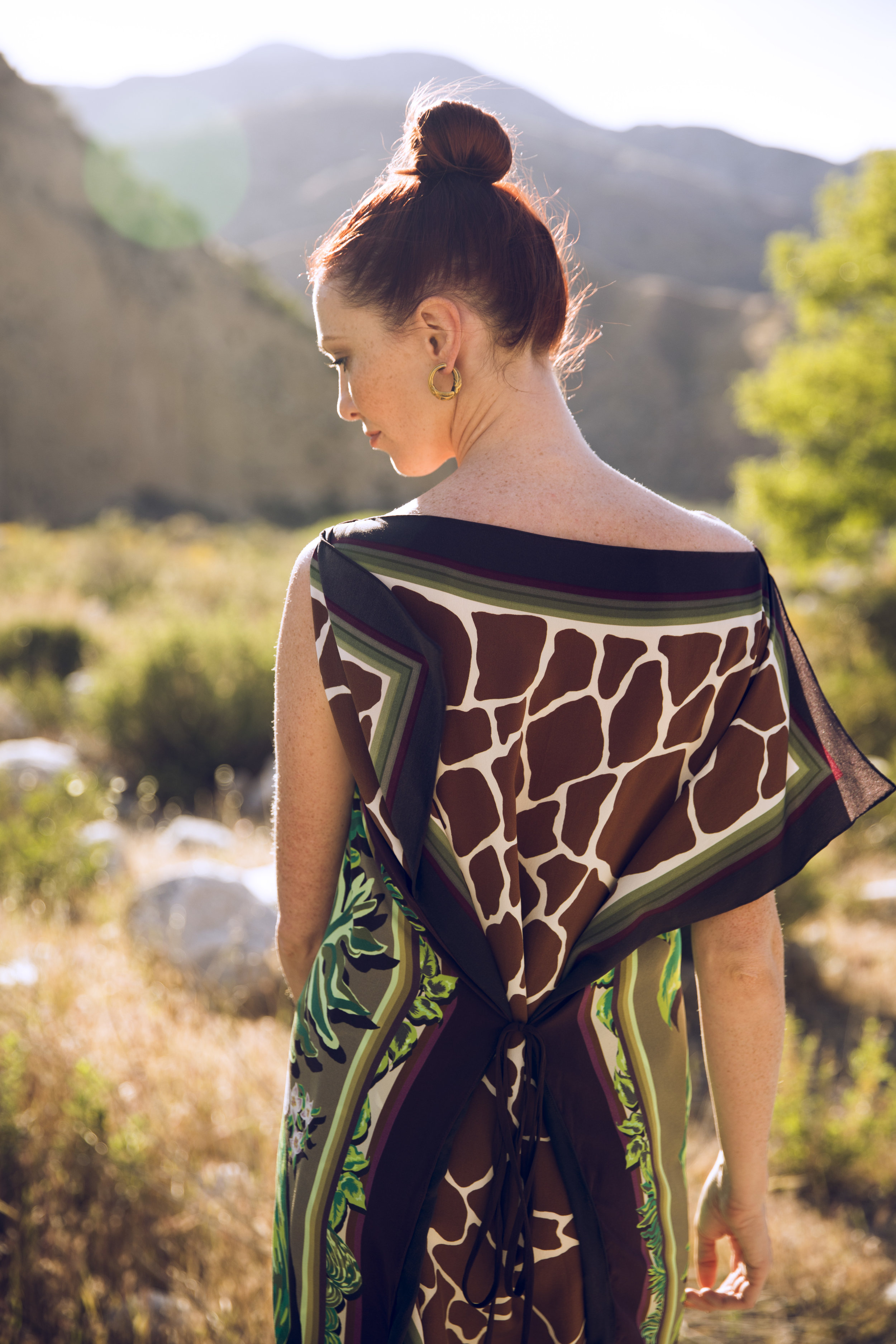 "Amanda Reversible Silk Scarf Tunic in ""Tropical Floral"" and ""Giraffe"""