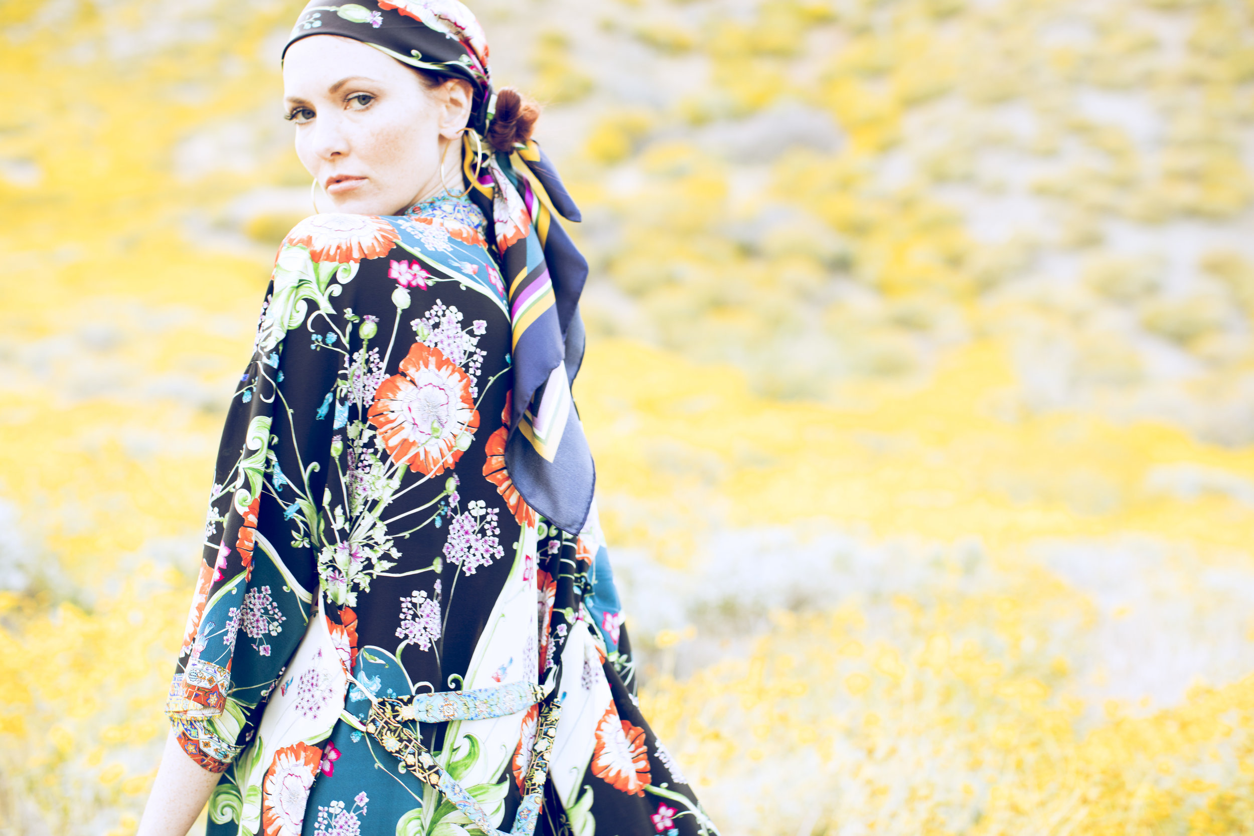 "Alexandra Long Silk Kimono in ""Opium Floral"" and ""Cloisonné"" prints , shown with  ""Opium Floral"" Silk Scarf"