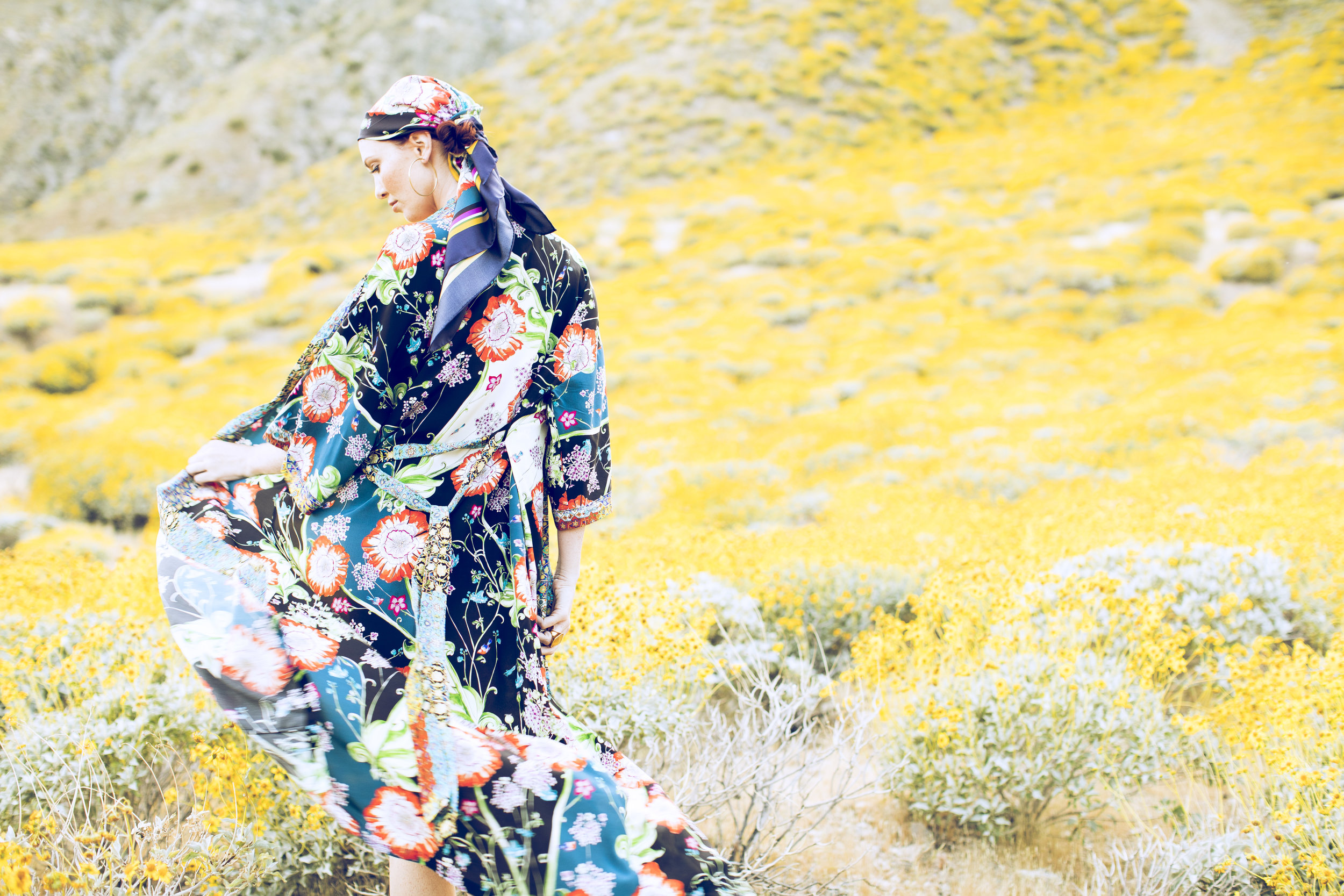 """Alexandra Long Silk Kimono in """"Opium Floral"""" and """"Cloisonné"""" prints , shown with  """"Opium Floral"""" Silk Scarf"""