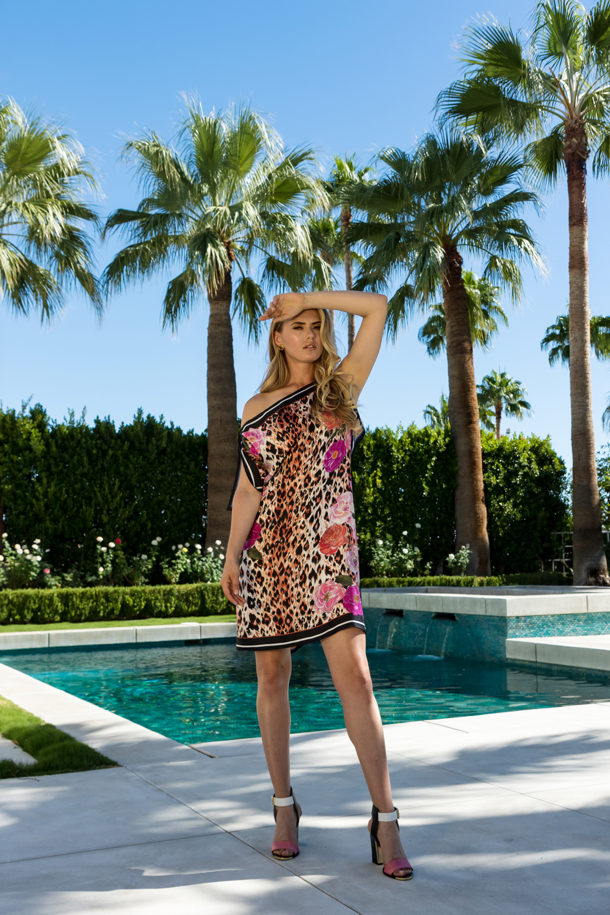 AMANDA REVERSIBLE SILK SCARF TUNIC IN ROSE LEOPARD / OPULENCE LTD ED PRINTS