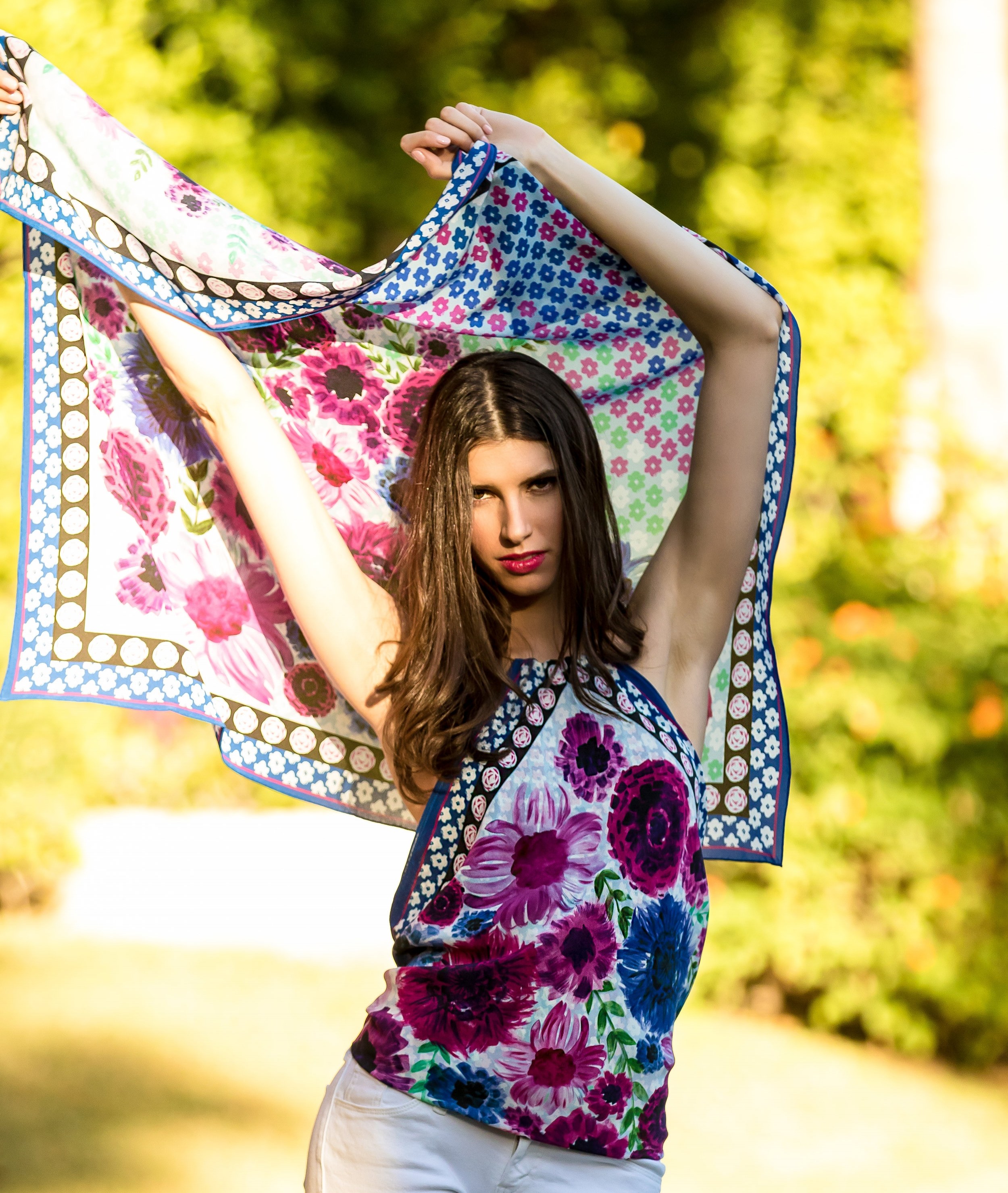 SHOP THE LOOK :  PATTI SILK SCARF HALTER TOP WITH BRASS NECK RING IN LIMITED EDITION MOROCCAN GARDEN PRINT  WITH  LARGE SQUARE SCARF IN SILK CREPE DE CHINE WITH HAND ROLLED EDGES - LIMITED EDITION MOROCCAN GARDEN PRINT