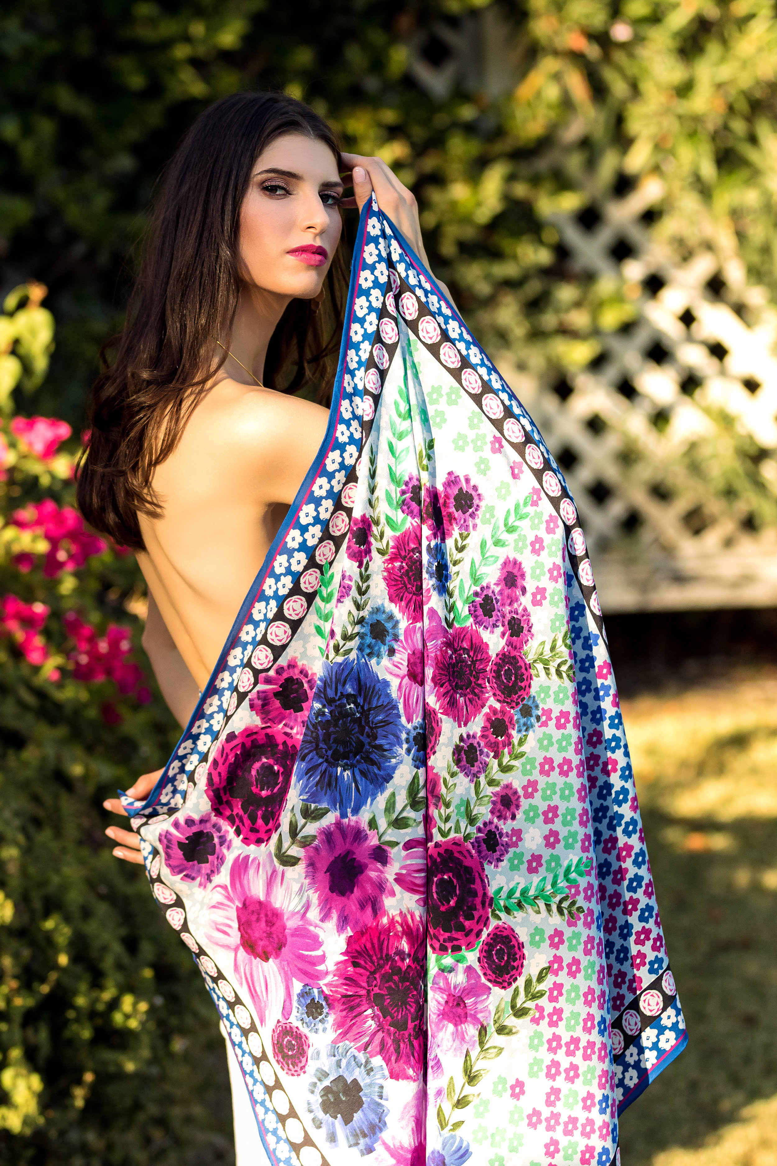 SHOP THE LOOK :  LARGE SQUARE SCARF IN SILK CREPE DE CHINE WITH HAND ROLLED EDGES - LIMITED EDITION MOROCCAN GARDEN PRINT