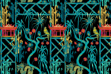 Pink Pagoda in Black  CHINOISERIE COLLECTION