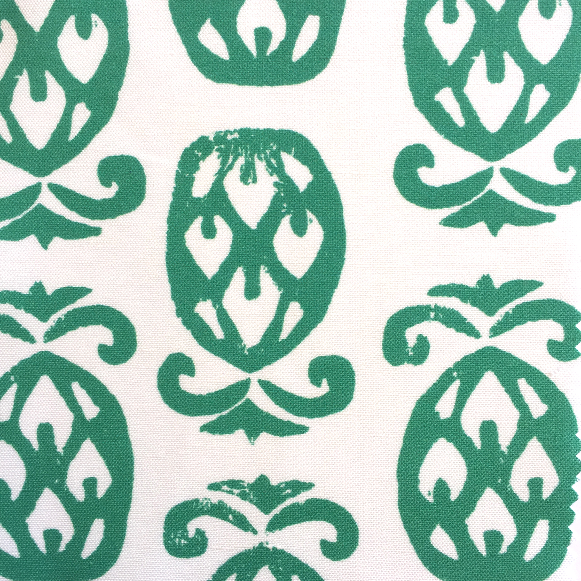 Pineapples in White/EMERALD  PALM SPRINGS COLLECTION