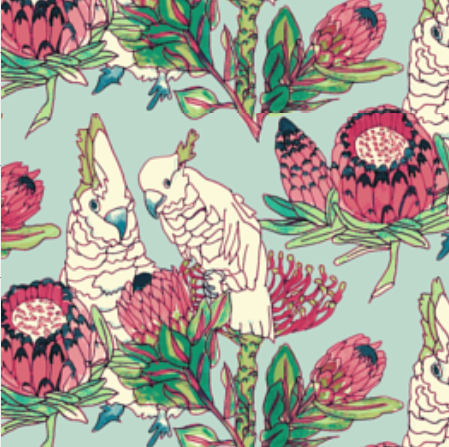 Parrots and Proteas in ROBIN'S EGG BLUE  PALM SPRINGS COLLECTION