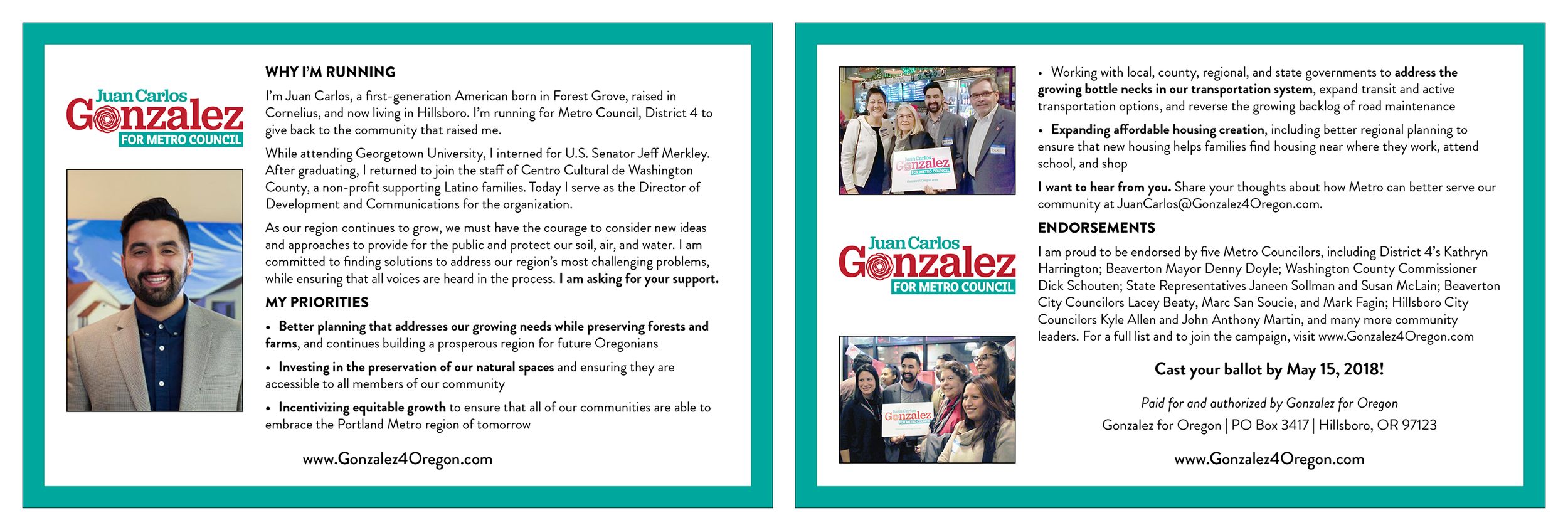 Juan Carlos Gonzalez for Metro Council canvassing collateral