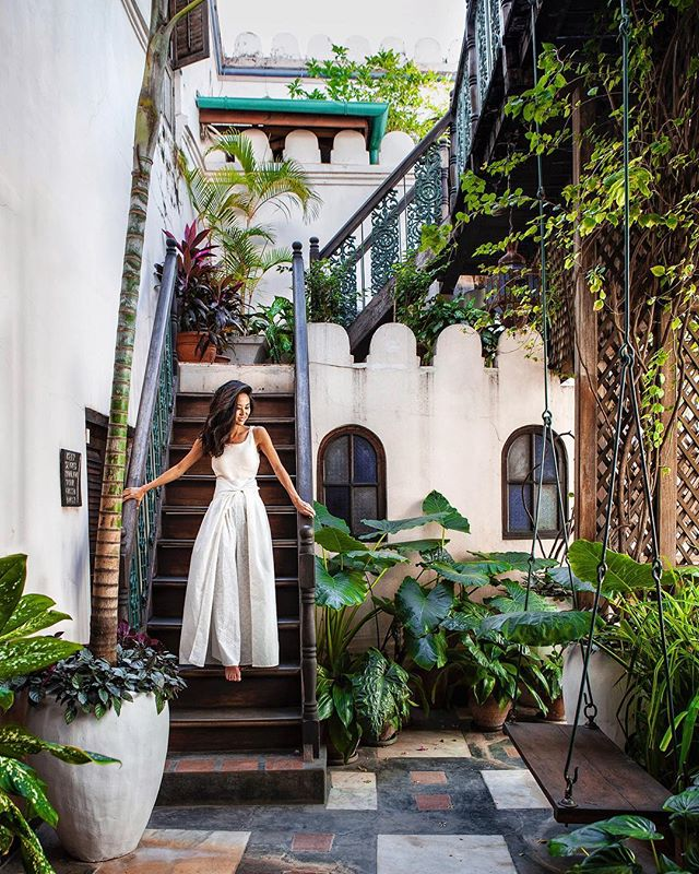 Secret gardens at @emersonzanzibar 🌿 Also how fun are my pants? They're by a local Zanzibar designer, Farouque Abdela who also designed the interiors of the hotel.
