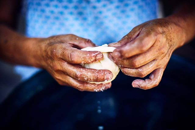 Quesillo making. That delicious, salty, stringy cheese is a Oaxacan staple and can be found in just about everything.