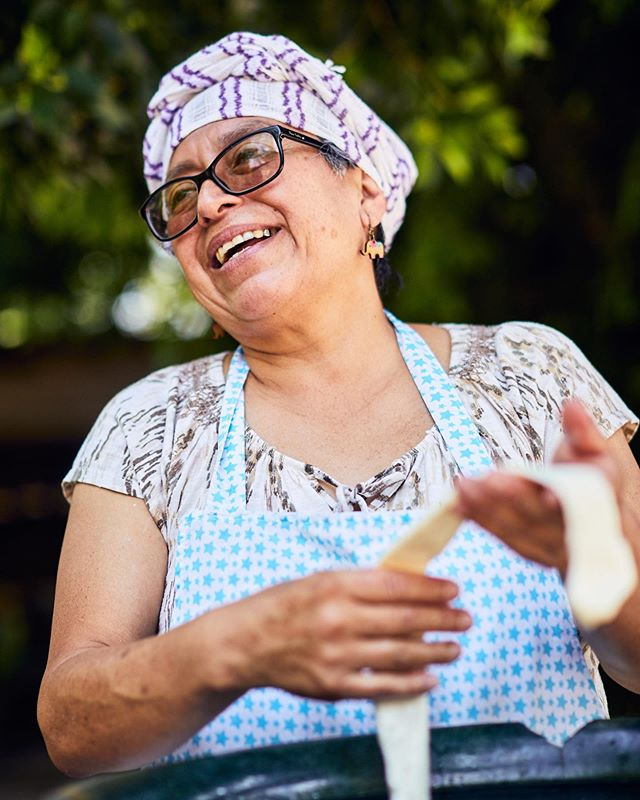 Andrea was all smiles as she stretched out the delicious cheese.  The weather had just changed and cooled and she rushed it slightly to accommodate. Usually it's even more stretchy!