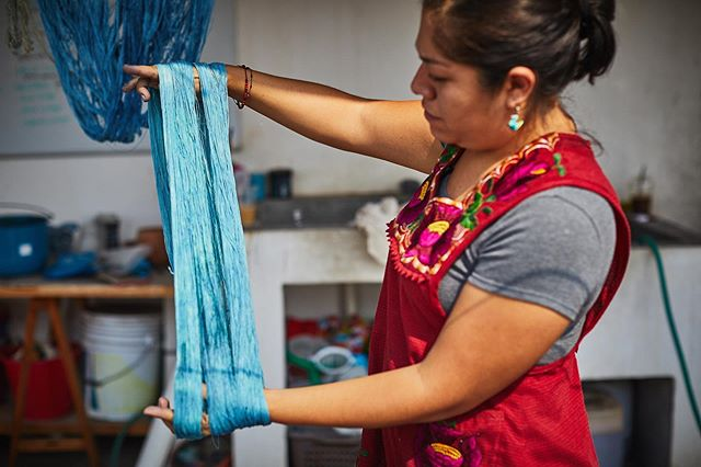 It's like magic when the oxygen hits the indigo soaked wool and it changes from green to blue!